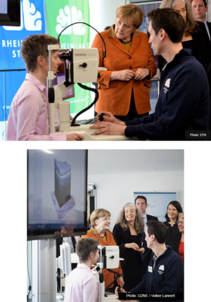 The director of the Rhineland Study, Prof. Monique Breteler, and her team show German Chancellor Angela Merkel how imaging with the SPECTRALIS can depict neuronal changes.